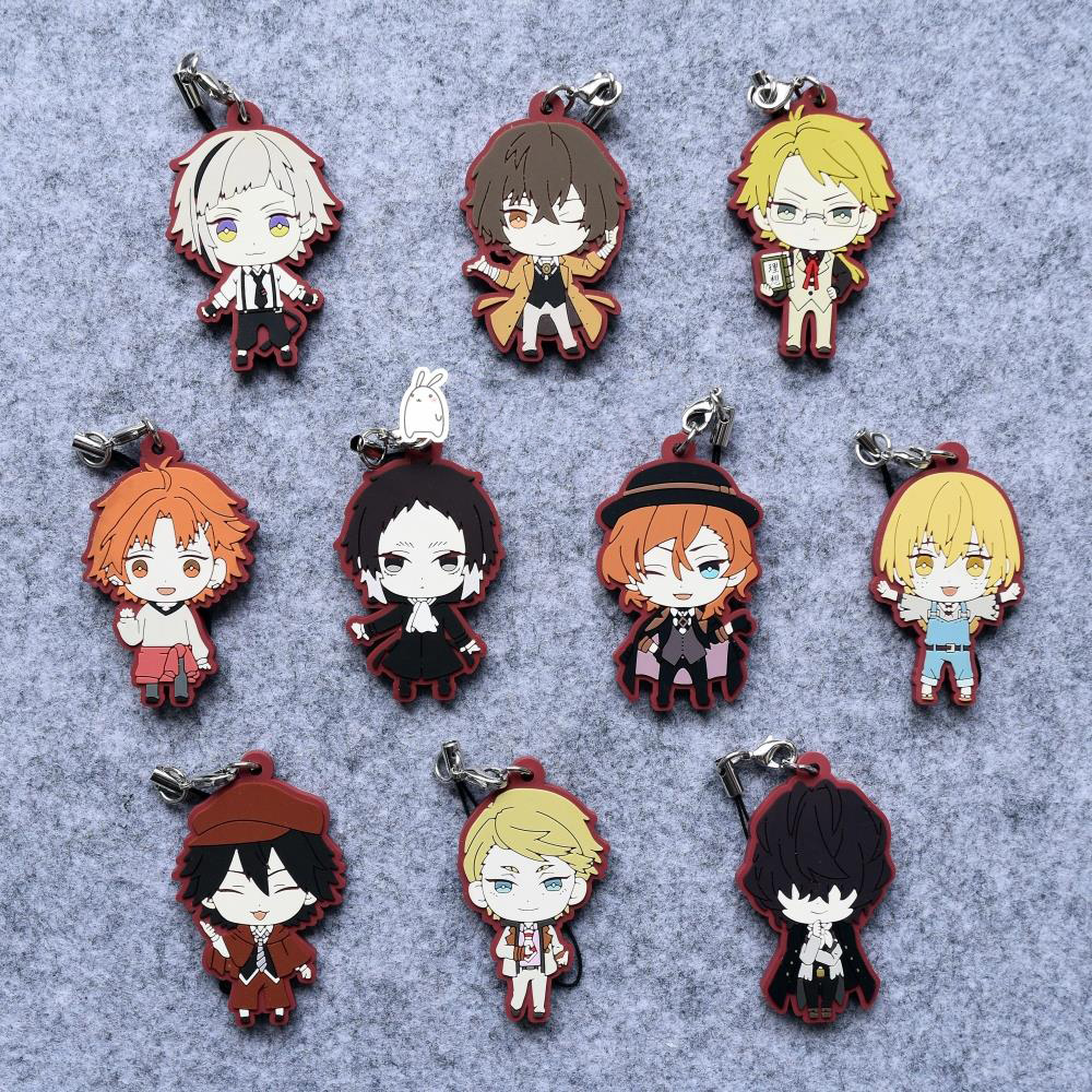 Bungo Stray Dogs Anime Dazai Osamu Nakahara Chuya Japanese Rubber Keychain halloween cosplay mask death bleach kurosaki ichigo cosplay pvc props mask masquerade party mask action figure brinquedos