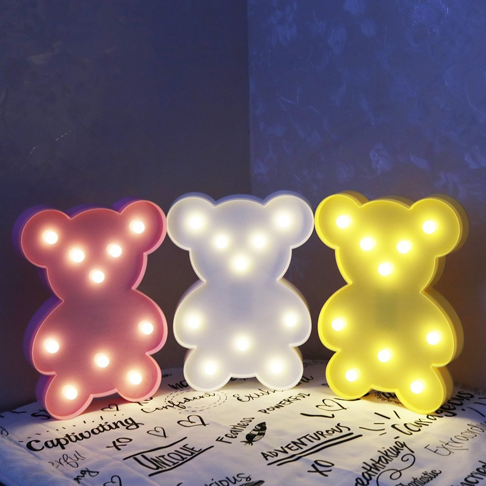 Luminaria Kawaii 3D Lovely LED Cartoon Bear Night Light Romantic Table Lamp Home Christmas Kids' Room Decor Letter Marquee Gifts kawaii animal lamp 3d led night light lovely cartoon rabbit multicolor change table home child bedroom decor kids birthday gift