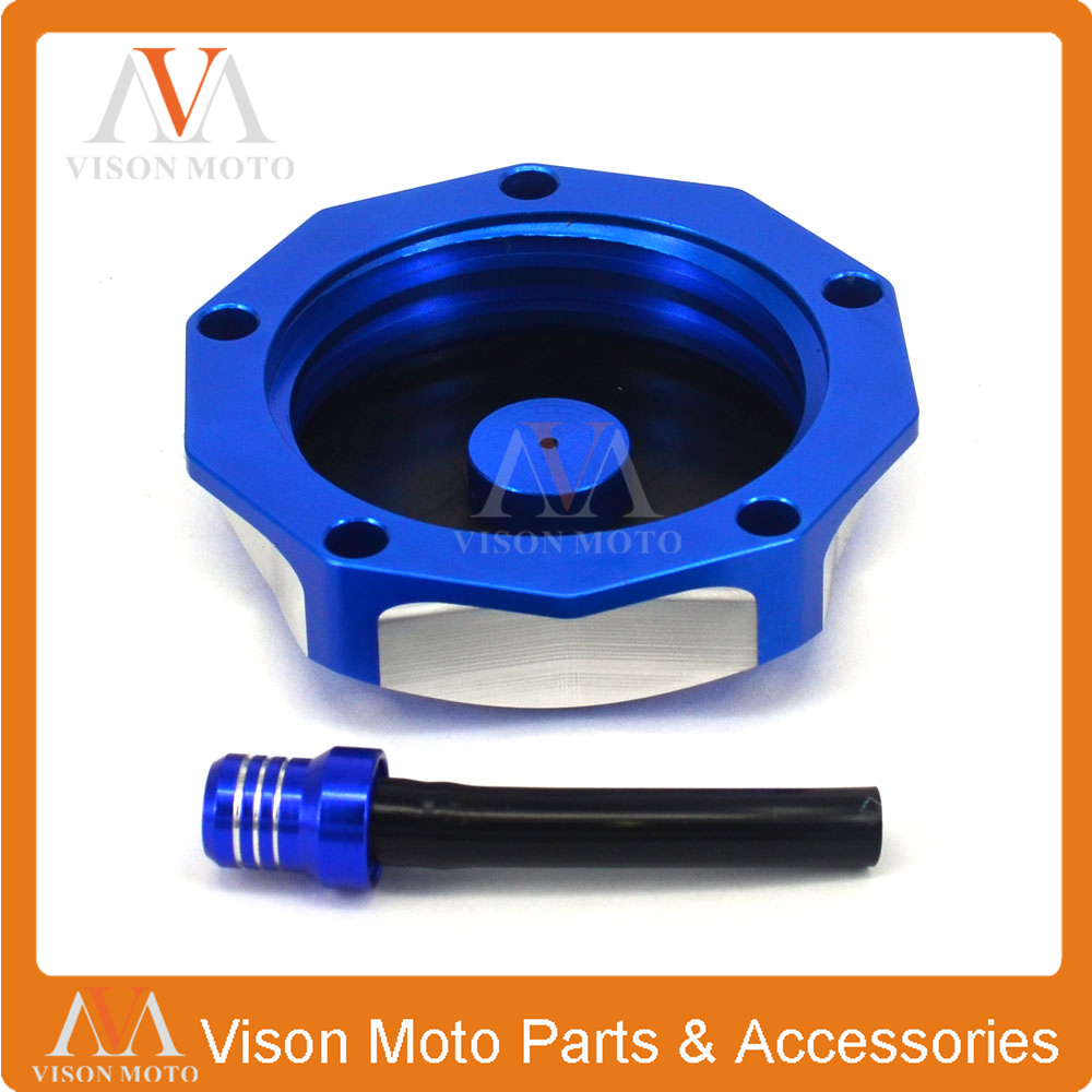CNC Dirt Bike Gas Fuel Tank Cap Cover With Breather Valve Air Vent Hose Tube For KAWASAKI KLX450R KX250 KX250F KX450F KLX110L YAMAHA YZ85 YZ125 YZ250F YZ450F YZ400F YZ426F WR250F WR450F Green