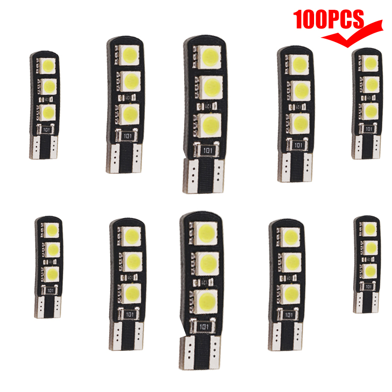 <font><b>100pcs</b></font> <font><b>T10</b></font> Led <font><b>CANBUS</b></font> W5W 6 SMD 5050 Car LED Light Error Free License Plate Light Reading Clearance Light Interior Bulb White image