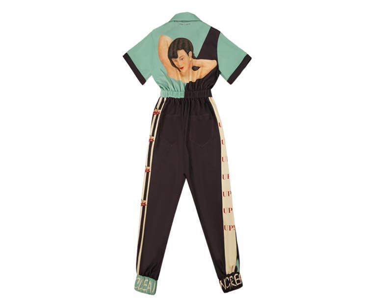 Clothing - Retro Rockabilly Jumpsuit Elastic Waist Vogue Hipster Rompers Short Sleeve