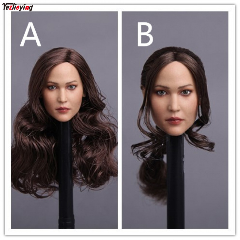 """GACTOYS GC003 1/6 Scale Accessoires Euramerican Jennifer Lawrence Carved Head Sculpt A curly Hair/B Ponytail Model F 12"""" Figure"""