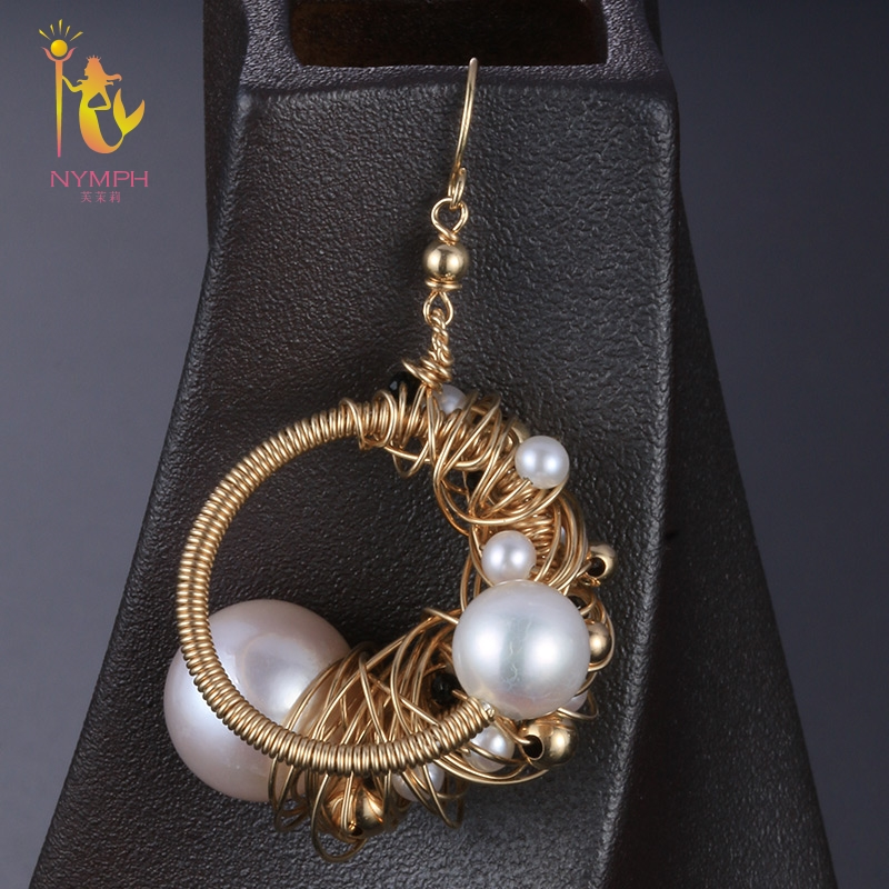 [NYMPH] Natural Pearl Drop Earrings Pearl Earrings For Women Fine Jewelry Near round Trendy Gift For Party E341 nobuer 14kgf handmade pearl drop earrings trendy women long earrings jewelry white round pearl drop earrings hanging to a party