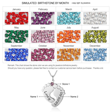 Feet Shape Personalized Name Necklace With Birthstone
