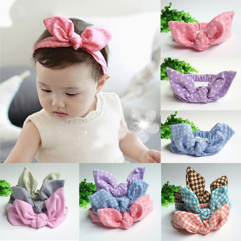 kids Girls Bow Hairband Turban Knot Rabbit Ear Headband Cotton Headwear P2