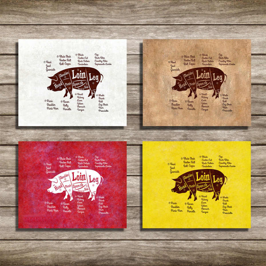 Pork Meat Pig Cuts Butchers Kitchen Wall Art Decorative Canvas Paintings Animal Picture and Posters Gifts Dining Room Home Decor
