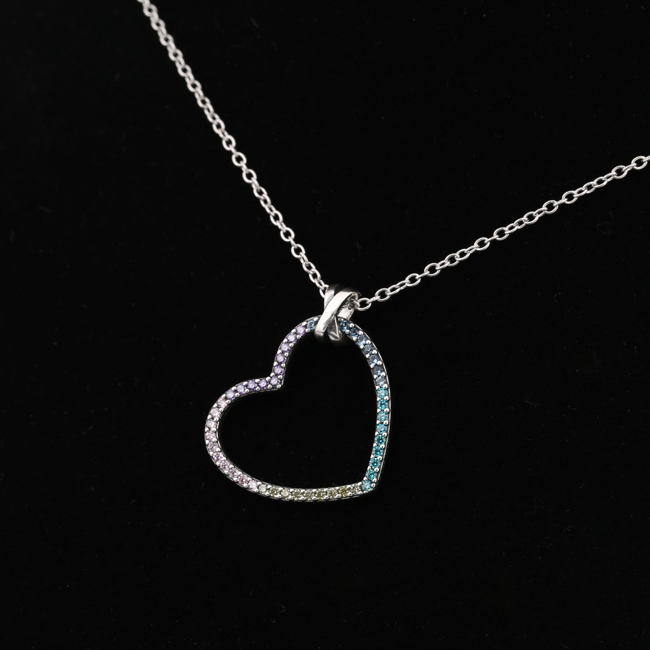 3471540d3 2018 Spring 925 Sterling Silver Original Pandora Multi Colour Heart Pendant  Necklace Clear CZ For Women DIY Jewelry-in Beads from Jewelry & Accessories  on ...
