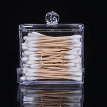 Acrylic Make Up organizer Transparent Cotton Swab Storage Box Case Portable Container Makeup Organizer