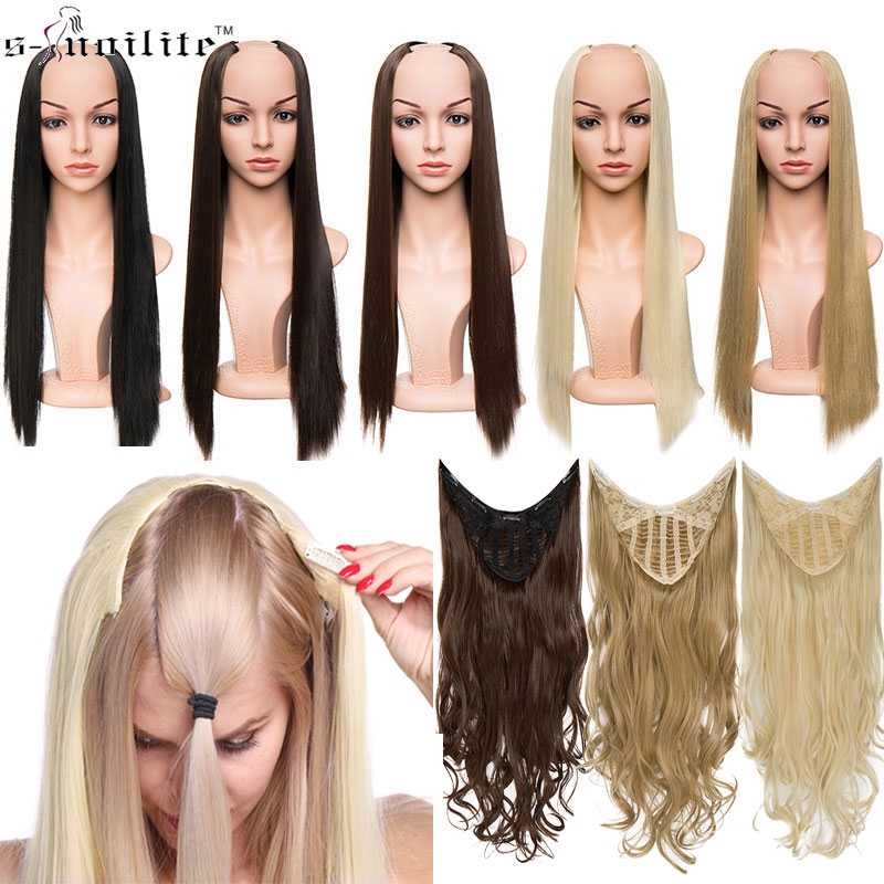 SNOILITE U-Part Synthetic Hair Extension Clips Ins One Piece Straight Curly Wavy 3/4 Full Head Wig False Hair Wigs Brown Black