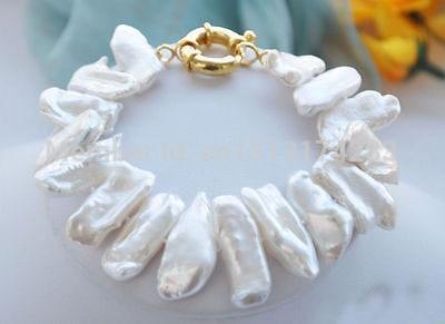 Free Shipping>>>8 22mm White Dens Biwa Freshwater Pearl Bracelet
