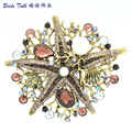 Женская мода ювелирные изделия Кристаллы Горный Хрусталь Брошь Pin Фиолетовый Starfish Броши Pin Подражать Перл 6412