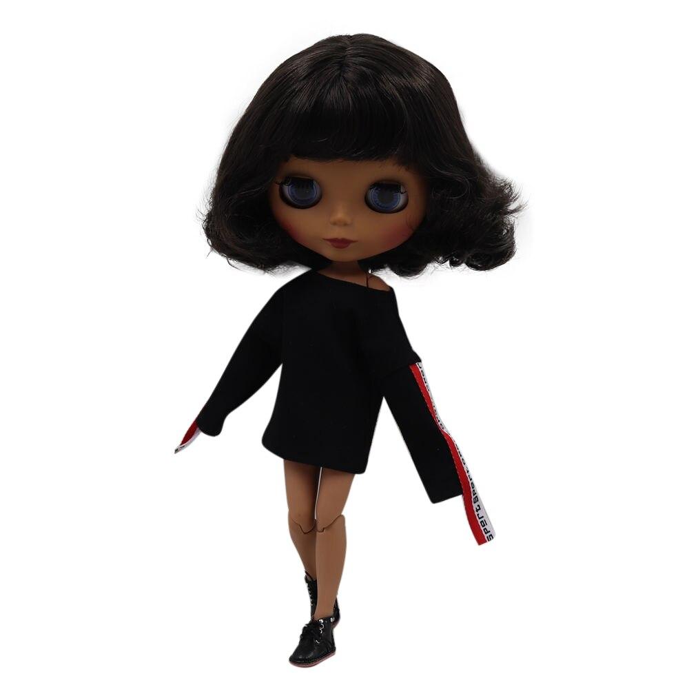 Blyth doll 30cm dark skin matte face Cute black short curly hair 1 6 JOINT body