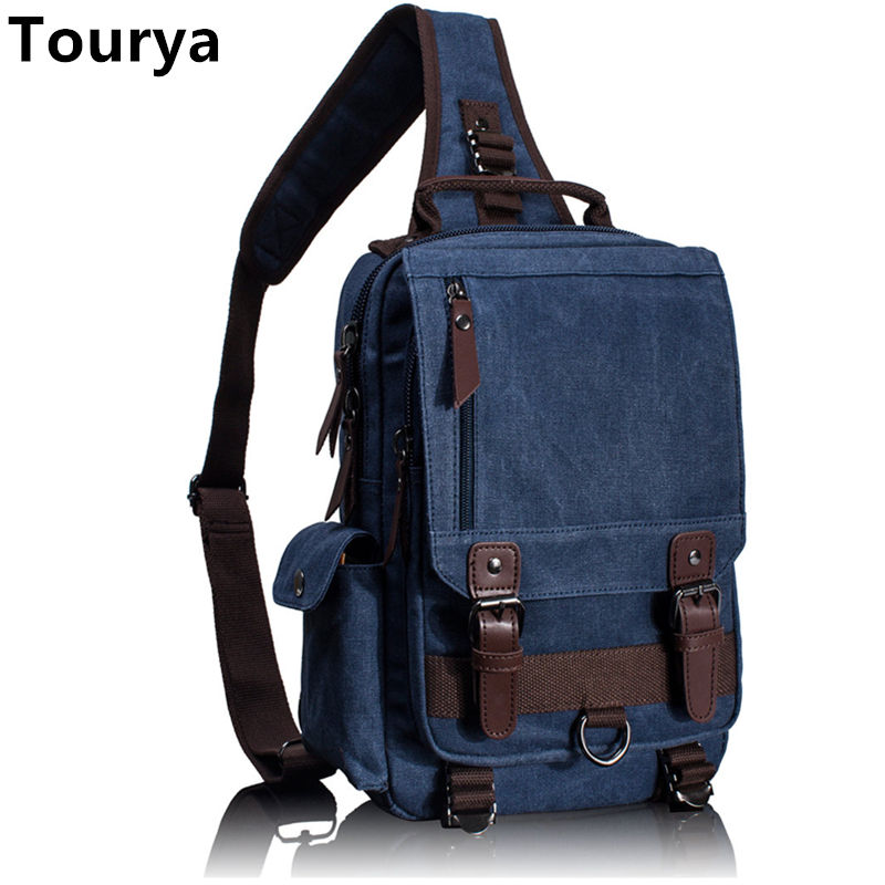 Tourya Canvas Crossbody Bags For Men Women Retro Leather Messenger Chest Bag Travel Single Shoulder Bag Large Capacity Handbag augur large capacity men women crossbody bag for pad handbags canvas shoulder bag messenger bag