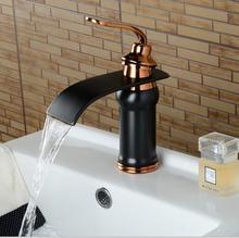 Черный бронзовый водопад умывальник кран Черный кран ванной комнате раковина кран холодной и горячей смеситель бассейна смеситель