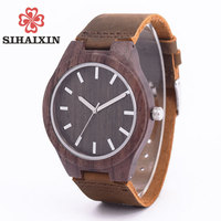 Hot Sale Men S Sandalwood Watch Genuine Leather Wristwatch Hight Quality Quartz Wristwatches Wooden Watches Top