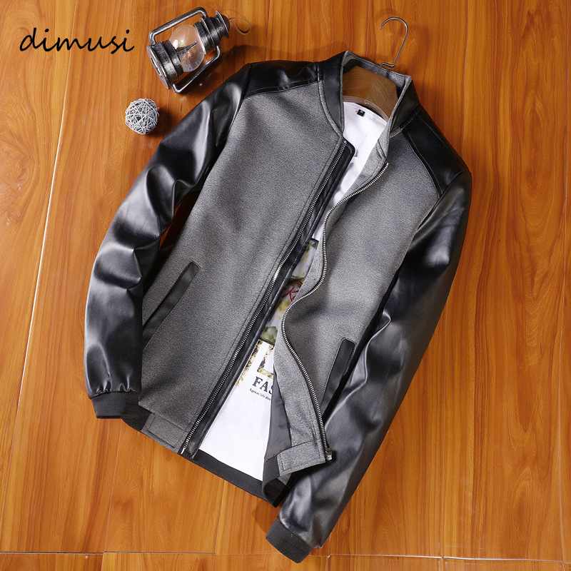 DIMUSI Spring Autumn Mens Bomber Jackets Fashion Men Motorcycle Leather Coats Male PU Leather Patchwork Biker Jackets Clothing