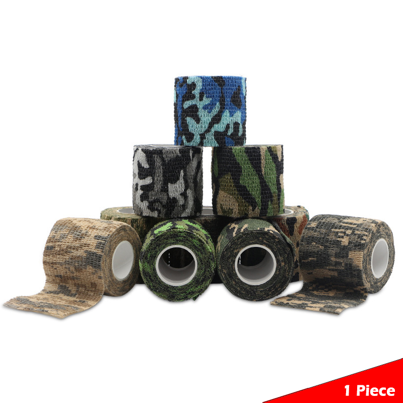 (5CM * 4.5M) Self-adhesive Camouflage Stretch Bandage Tactical Non-woven Tape for Rifle Gun Flashlight First Aid Health Care image