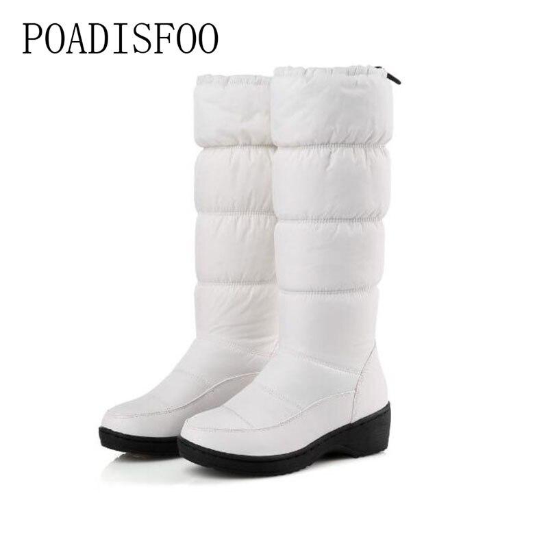 X-85 Angemessen Poadisfoo Frauen Winter Kniehohe Stiefel Casual Winter Unten Schnee Stiefel Beliebte Runde Zehe Slip-on Schuhe Lange Warme Zeigen Stiefel Frauen Schuhe