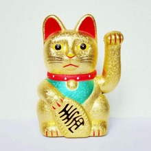 Ceramic Maneki Neko Gold Waving Lucky Feng Shui Fortune Money Cat Chinese Paw