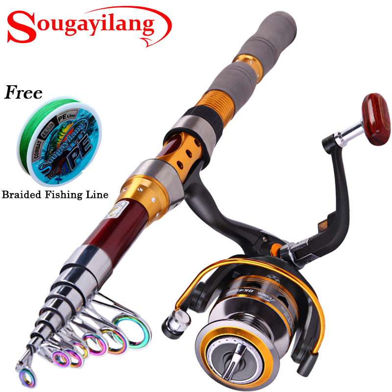 ФОТО Sougayilang 1.8M-3.0M Spinning Fishing Rods Reels Combos Carbon Telescopic Fishing Rod with 11BB Spinning Fishing Reels Set