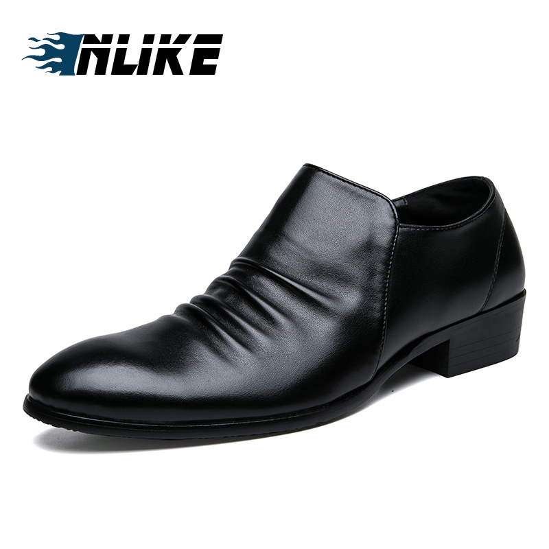INLIKE Big Size British Fashion Business Mens Leather Shoes Ofords For Men Footwear Flats Pointed Toe Official Dress Shoes