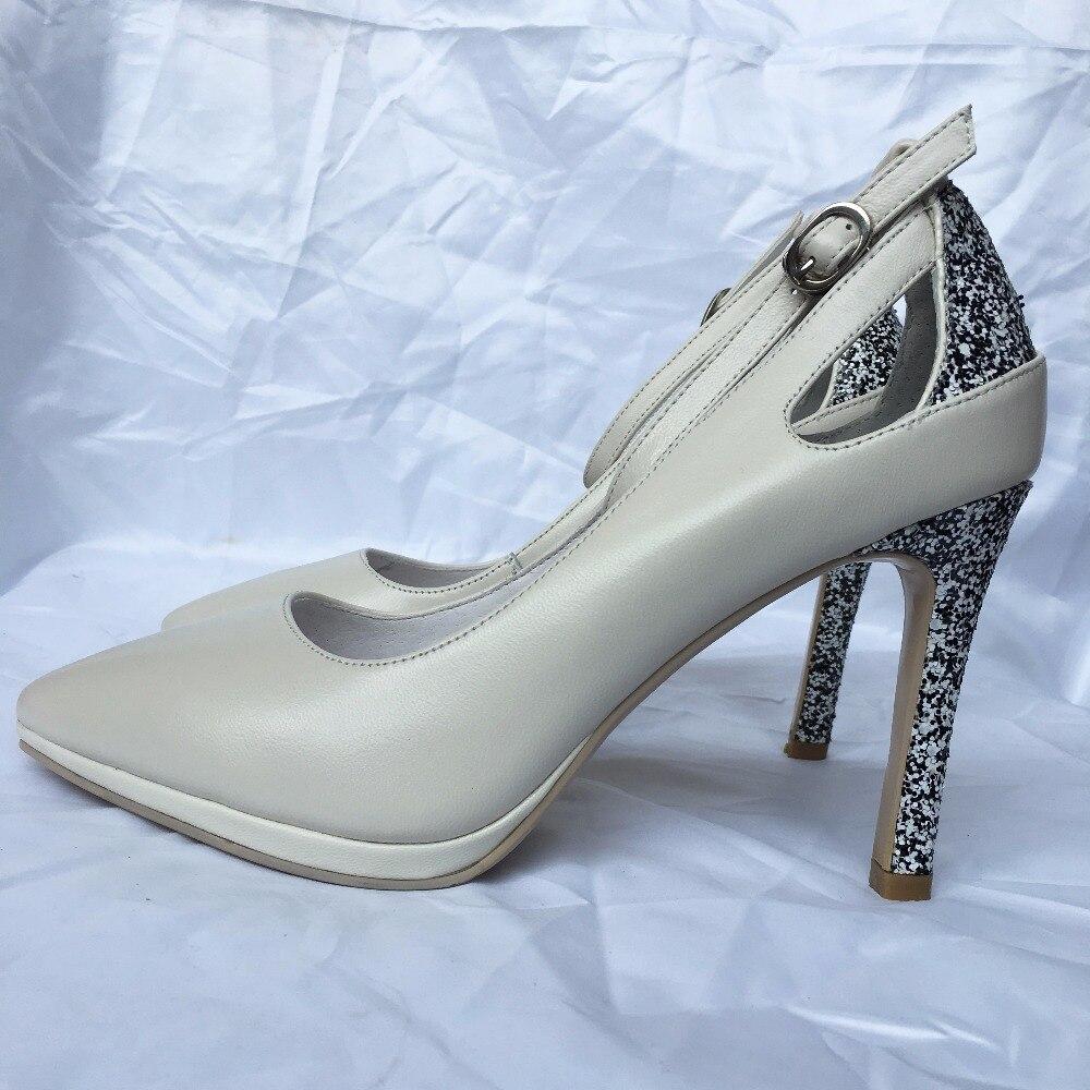Glitter Plate En forme Janes Mary Formelle Beige Pompes Talons Hauts Femmes Blanc Robe Chaussures Stiletto Élégant noir Cuir Pointu À rqr4p