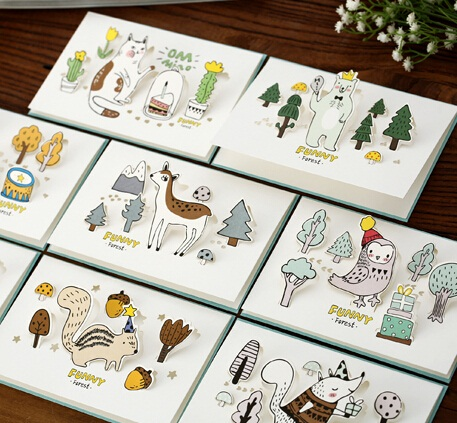 12packs/lot Student DIY Bussiness cards Vintage 3D Forest Animal series Greeting card set with envelope Christmas cards bookmark