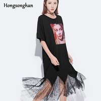 Hongsonghan 2018 Summer Dress character Patch Designs loose mermaid dress women's t Wave Cut lace hem spliced trumpet dresses