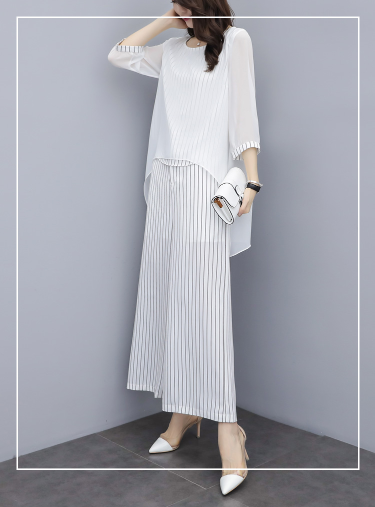 HTB10rUYa25G3KVjSZPxq6zI3XXak - S-3xl Summer Chiffon 2 Two Piece Sets Outfits Women Plus Size Asymmetrical Blouses And Wide Leg Pants Suits Elegant Korean Sets
