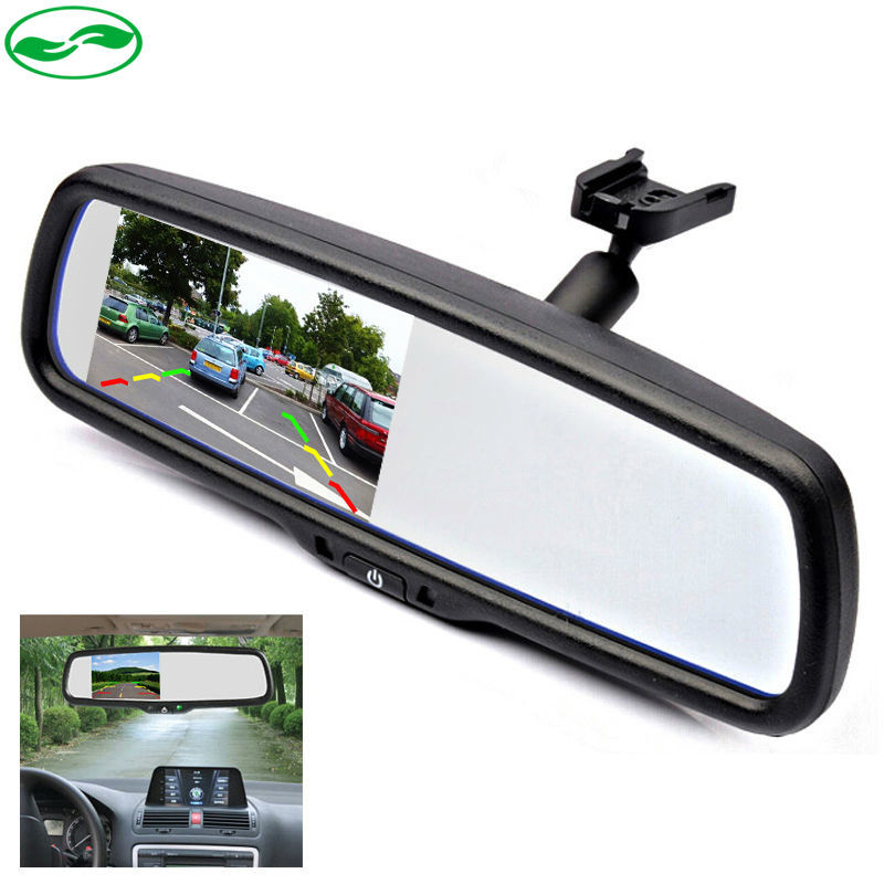 4.3 TFT LCD Car Windscreen Rear View Mirror Car Bracket Monitor with 2CH Video Input For Parking Assistance System