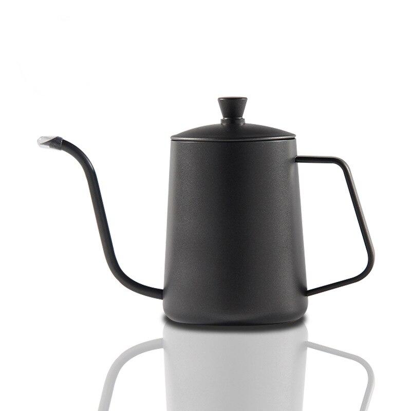 Bouilloire goutte à goutte café théière téflon antiadhésif de qualité alimentaire en acier inoxydable col de cygne bouilloire goutte à goutte col de cygne bouche mince 600 ml