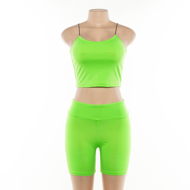 2019 Summer Sporting Neon Two Piece Neon Green Set Outfit Club Clothes Crop Top Sexy 2 Pieces Matching Women Tracksuit