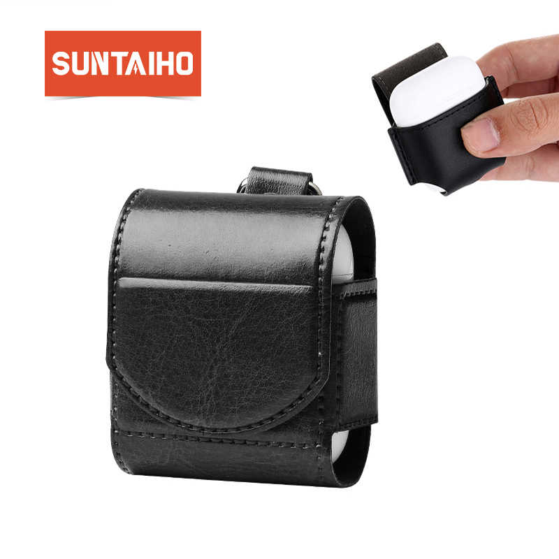 Suntaiho Apple の Airpods ケース Pu レザー Apple の AirPods カバーイヤホンケースバッグ耐震ポッド薄型プロテクター i12 i13