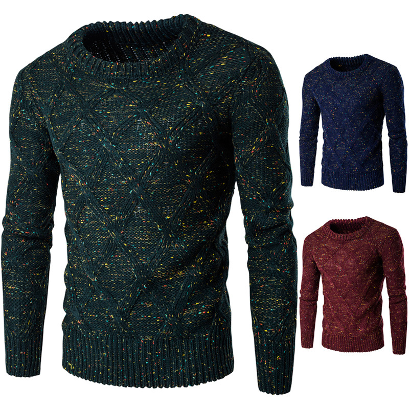 Sweater Men 2017 Thickening Pullover Sweater Male O-Neck Color Dot Slim Fit Knitting Mens Sweaters Man Pullover Men XXL