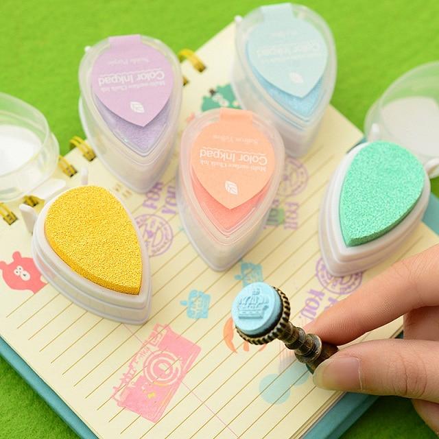 6 Pcs/Lot Drop Shape Stamp Pad Cute Mini Sponge Ink Pad Water Color Pigment Inkpad Carimbo Stationery School Supplies