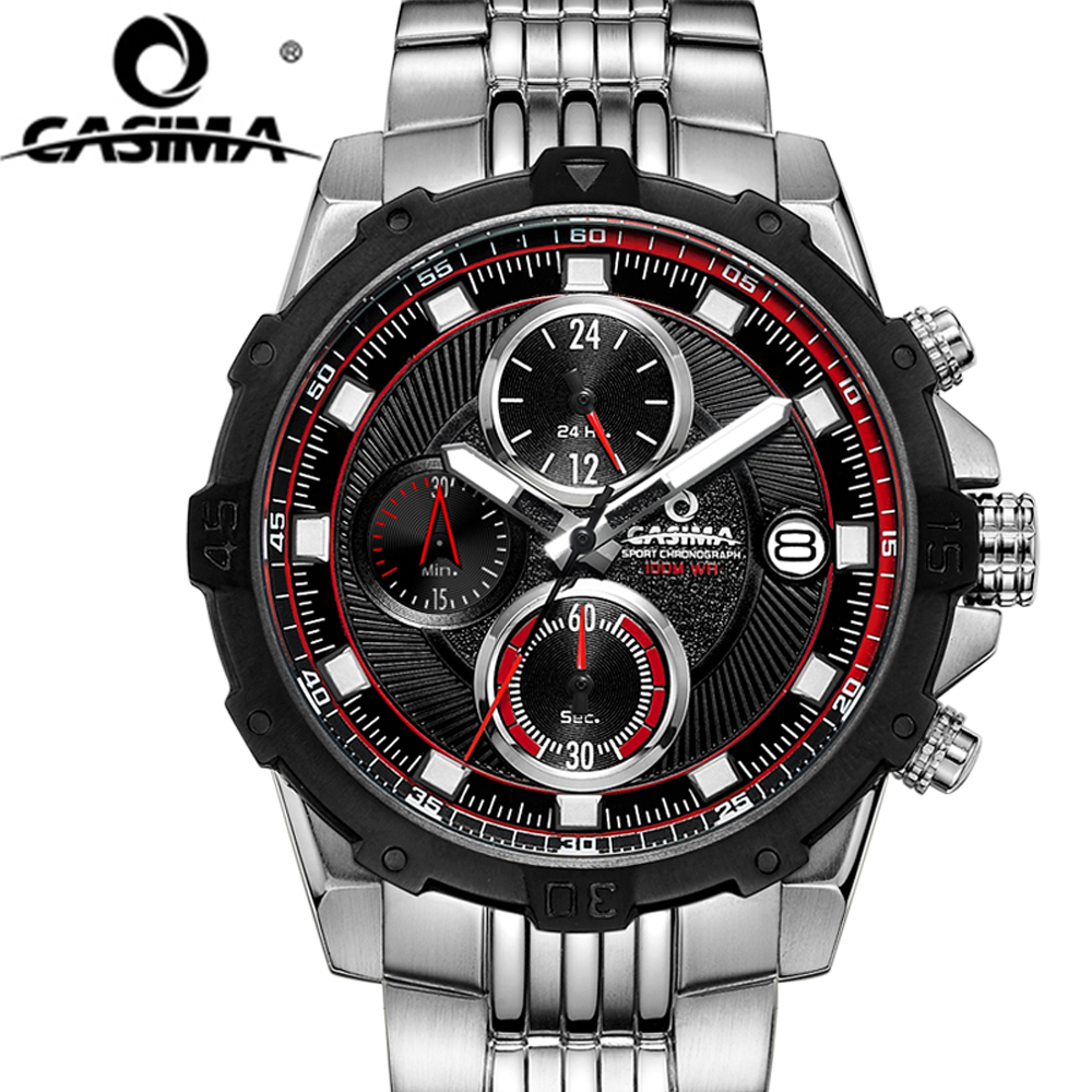 CASIMA Fashion Luxury Brand Men's Stainless Steel Sports Quartz Watches Men Casual Sport Clock Male Waterproof Wristwatch Reloj curren watches mens brand luxury quartz watch men fashion casual sport wristwatch male clock waterproof stainless steel relogios