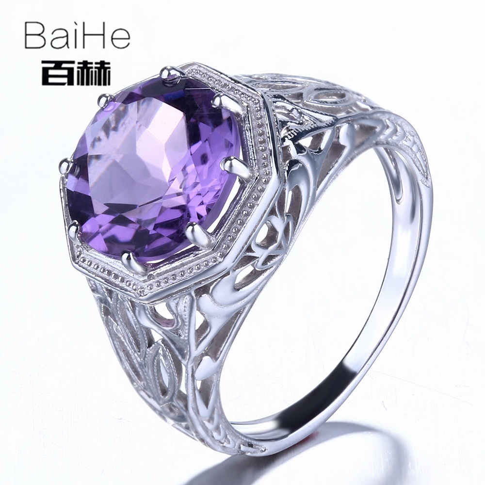BAIHE Sterling Silver 925 3.76CT Certified 100% Genuine Amethyst Flawless Engagement Women Trendy Fine Jewelry Ring BAIHE Sterling Silver 925 3.76CT Certified 100% Genuine Amethyst Flawless Engagement Women Trendy Fine Jewelry Ring