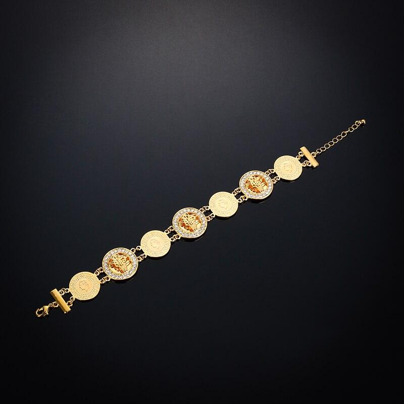 Fashion Islam Totem Bracelet Women Gold Color Hand Chain Bangle Wholesale,muslim Arab Middle East Wedding Jewelry