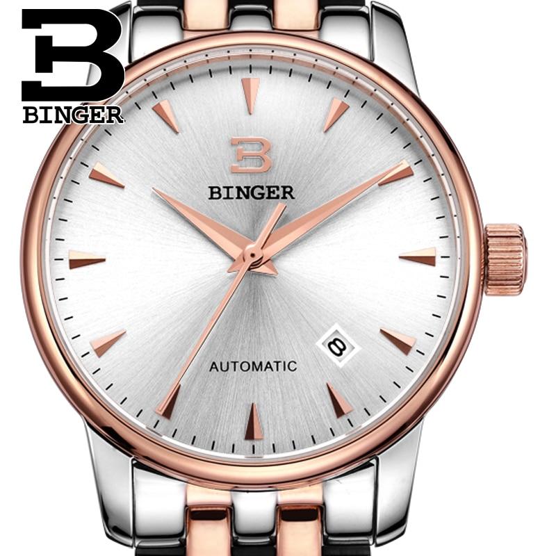 Schweiz tittar män lyx märke18K guld Armbandsur BINGER företag - Herrklockor