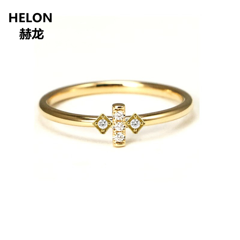 Solid 14k Yellow Gold Natural Diamonds Engagement Ring for Women Anniversary Wedding Band Fine Jewelry Classic цены онлайн