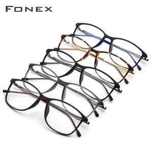 Image 4 - FONEX TR90 Alloy Optical Glasses Frame Men Full Rim Square Myopia Eye Glass for Men Prescription Eyeglasses Screwless Eyewear