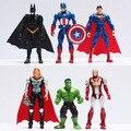 Cerca de 10 cm 6 pçs/lote as figuras avengers super hero hulk capitão américa superman batman thor homem de ferro boneca de brinquedo do bebê homem