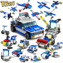 16IN1 City Police SWAT Helicopter Car  Building Blocks Sets Playmobil Bricks Educational Toys For Children
