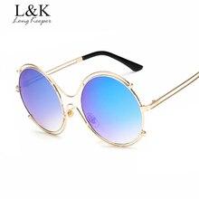 Larga Arquero Hellow out Aleación De Metal Redondas gafas de Sol de Las Mujeres Dom gafas Vintage Retro Gafas De Sol Mujer 2017 Nueva Marca diseño