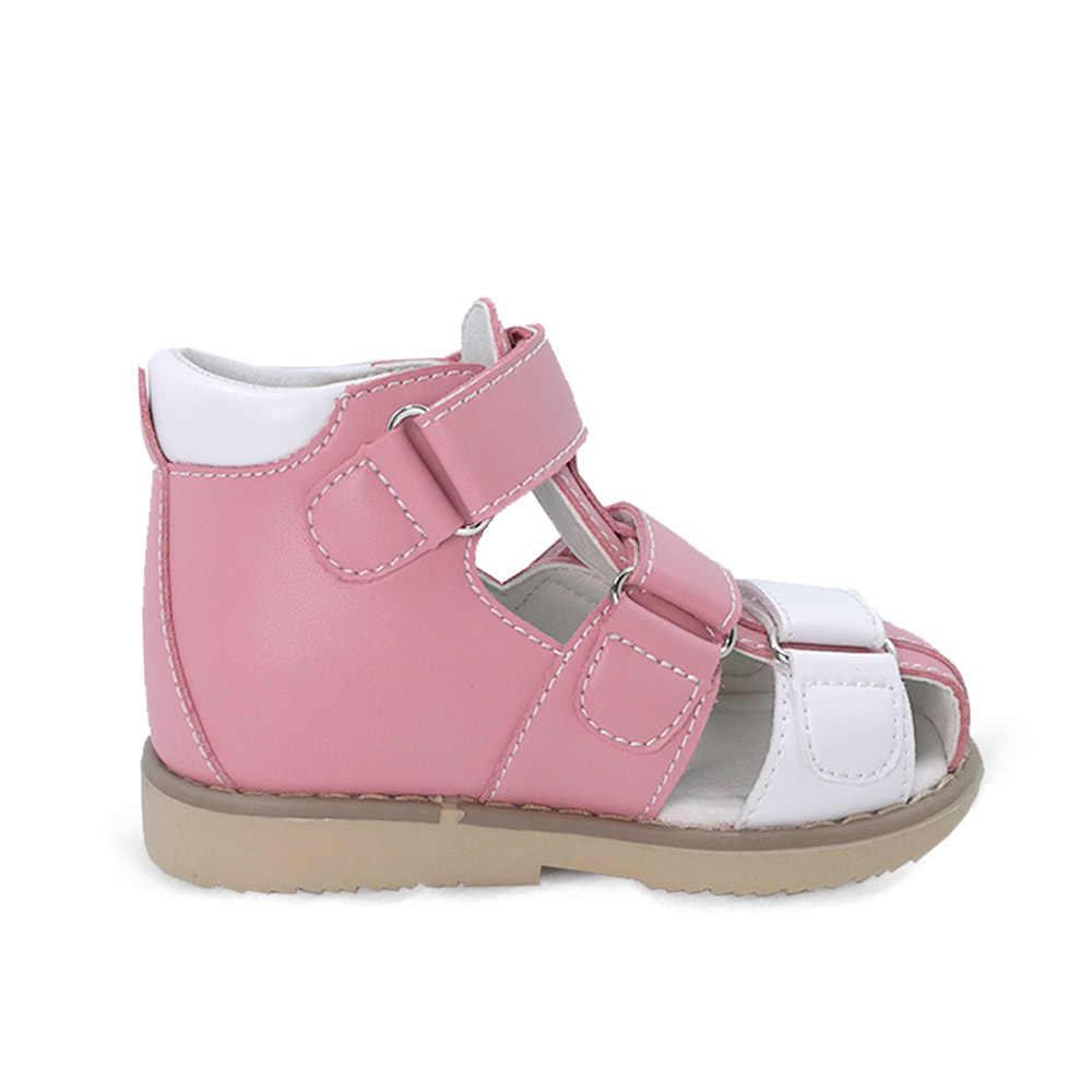 Ortoluckland yürümeye başlayan kızlar ortopedik ayakkabılar düz sandalet çocuklar için kapalı Toe pembe sandalet çocuklar katı zemin ortopedik ayakkabı