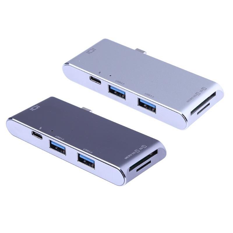 USB-C 3.1 à 2 USB 3.0 HUB + SD/TF Lecteur de Carte avec 4 K HDMI Port + PD De Charge Port Multifonction Lecteur de Carte En Alliage D'aluminium