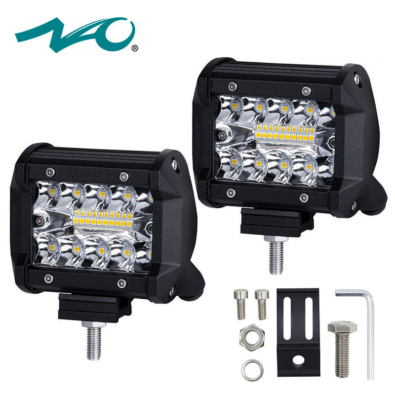 NAO 4 inch LED Work Light 60W Bar Bulb 12V 24V Spot Flood Lights for Trucks Led Fog Light Bar for Offroad Town Car ATV Boat SUV