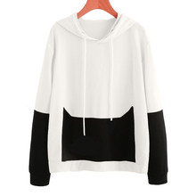 Осень для женщин Повседневное кошка лоскутное с длинным рукавом дамы Толстовка пуловер капюшоном топы корректирующие