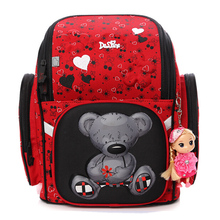 Delune Brand 3D Bear Owl Pattern School Bags For Girls Boys Children Orthopedic Backpacks Primary Book Backpack Mochila Infantil