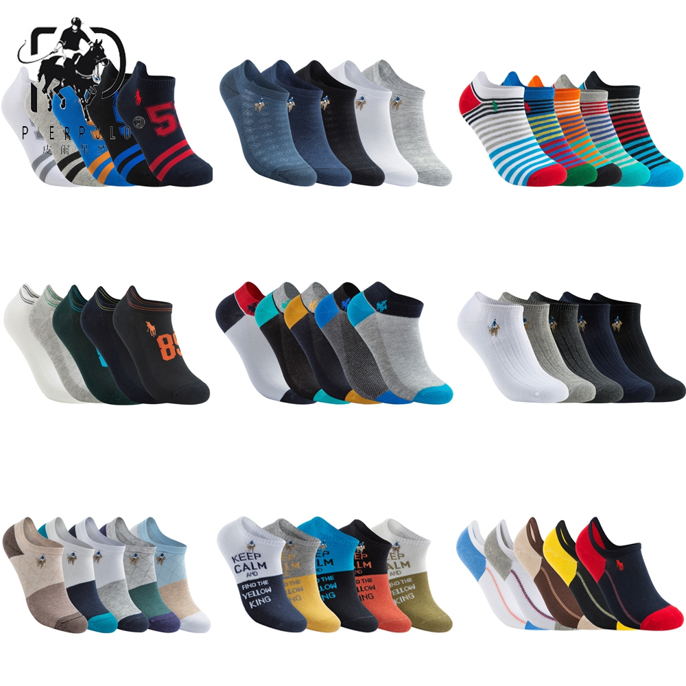 High Quality 5 Pairs/lot PIER POLO Brand Men Socks Summer Fashion Casual Soft Short Cotton Socks Men Funny Ankle Socks
